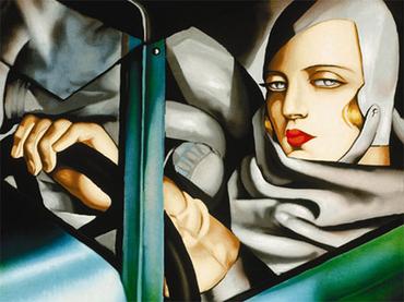 """Tamara de Lempicka: """"Autoritratto (Tamara sulla Bugatti verde)"""", 1925"""