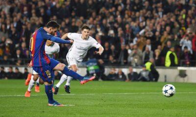 Barcellona - Psg: il rigore del tre a uno segnato da Lionel Messi
