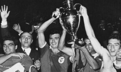 Il Benfica (tre finali di fila tra il 1961 e il 1963)festeggia il successo contro il Real Madrid