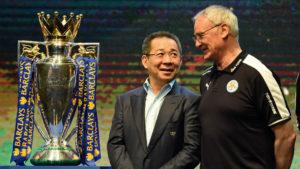 Vichai Srivaddhanaprabha accanto a Claudio Ranieri e al titolo conquistato nel 2016