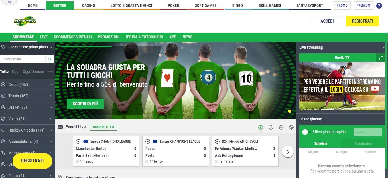 Better Lottomatica, recensione del servizio di scommesse online